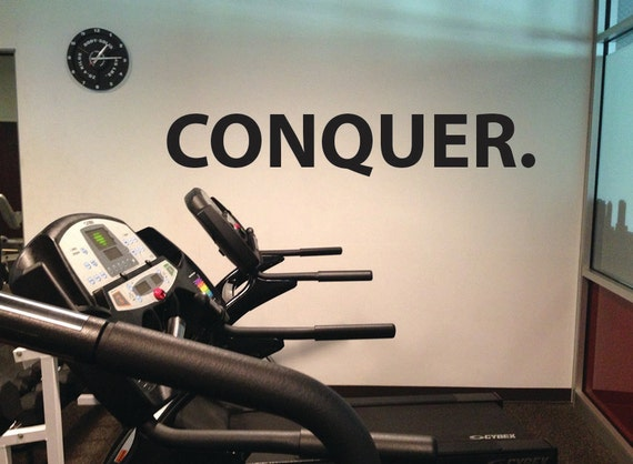 Conquer, Wall Decor Vinyl Decal Gym Workout Motivation Quote  item #52