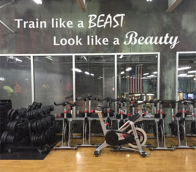 Work out essentials gym wall decal. train like a beast look etsy