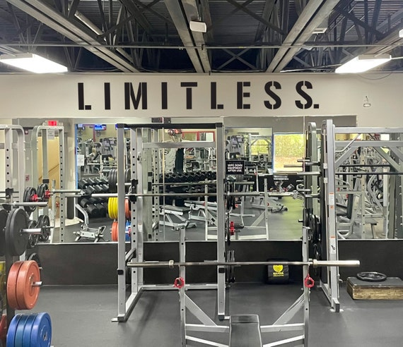 LIMITLESS. Gym Wall Decal Idea, Gym Quote Decor, Fitness Decor, Home Gym Design Idea, Fitness Wall Decal, Cycling Quote decor
