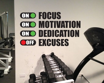 Fitness Motivation Work Out Wall Decal. Excuses Off Gym Wall Decal.