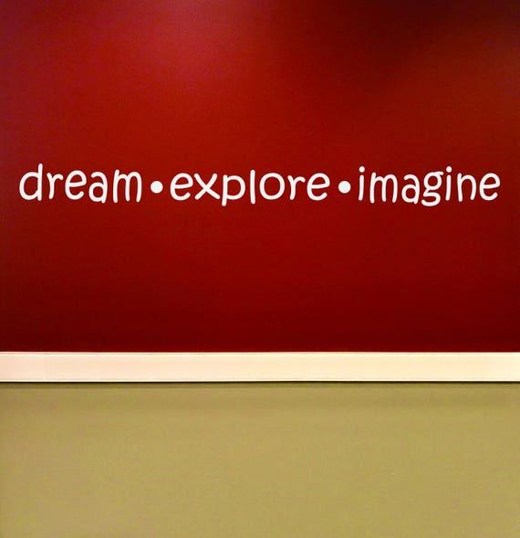 Classroom Ideas, Classroom Sign, Inspirational Teacher Decor, dream explore imagine