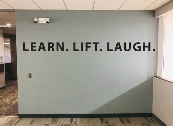 LEARN. LIFT. LAUGH. Gym Wall Decal, Fitness Quote Wall Decal, Gym Ideas, Sports Quote Decal, Wall Sticker for Gym Wall