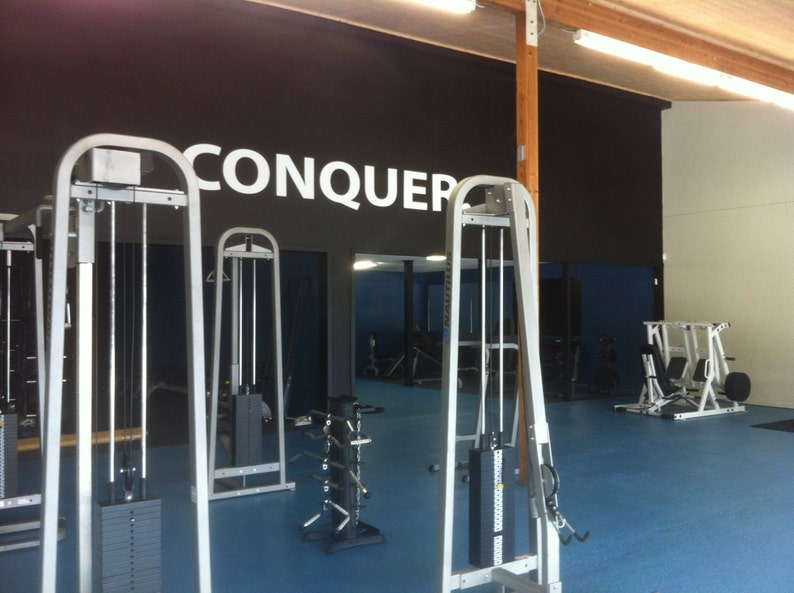 Conquer wall decor vinyl decal gym workout motivation quote etsy