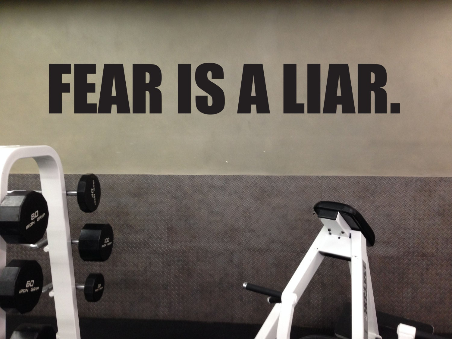 Fitness motivational decal fear is a liar home gym vinyl decal