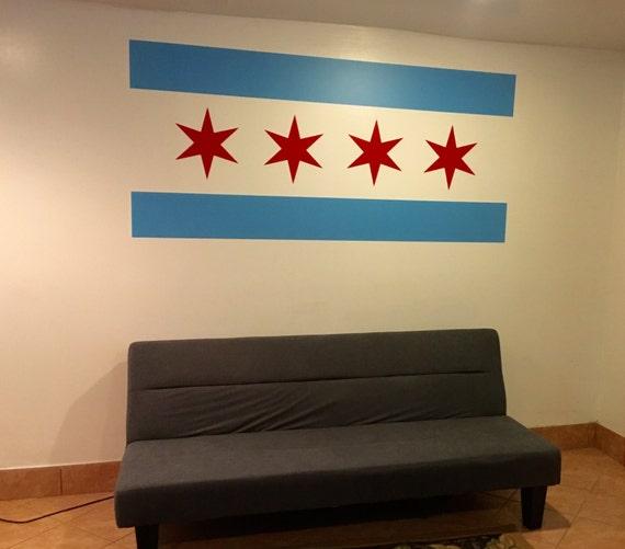 Chicago Flag Wall Decal, Chicago Flag Decor, Chicago Decor, Chicago Inspired theme.