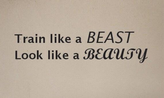 """Home Gym Decor, Train Like a BEAST Look like a BEAUTY, Vinyl Wall Decor Sticker Decal, 12""""x60"""" 10"""