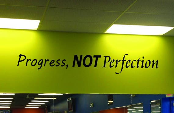 Gym Ideas, Fitness Quote Decal, Classroom Wall Decal, Progress Not Perfection