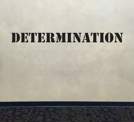 Wall Decal for Gym, Fitness Wall Decal, Classroom Wall decor, DETERMINATION Stencil Font Gym Wall Decal
