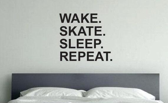 Skateboard Theme Decor, Wake Skate Sleep Repeat Skateboard Wall Decal Sticker
