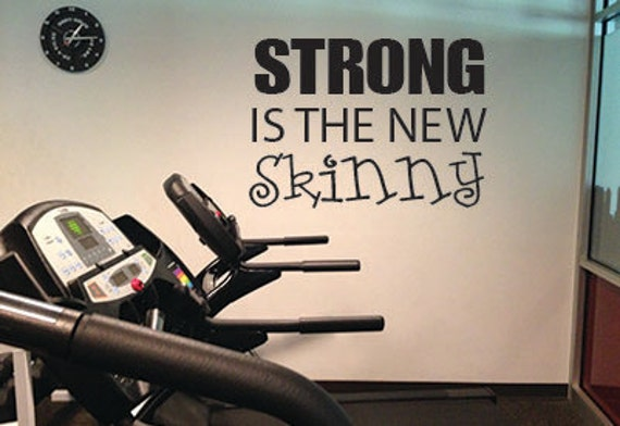 """Strong is the new Skinny, Wall Decor Vinyl Decal Gym Workout Motivation Quote 21""""x29"""", item#80"""