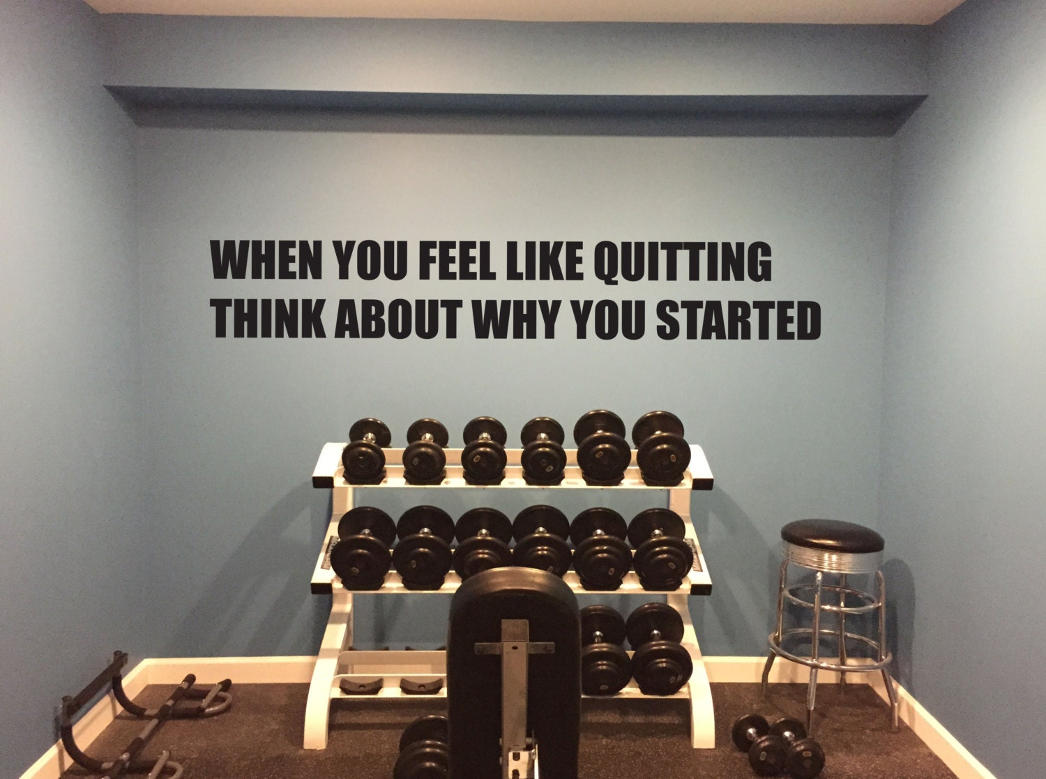 Motivational gym quote when you feel like quitting think about why