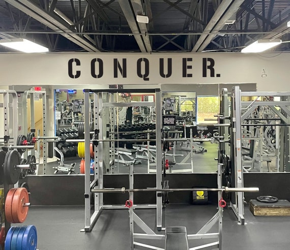 CONQUER. Gym Wall Decal, Gym Quote Decor, Fitness Decor, Home Gym Design Idea, Fitness Wall Decal, Cycling Quote decor, Gym Ideas