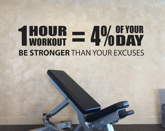 Gym Entrance Decal, 1 hour workout equals 4 percent of you day wall decal.