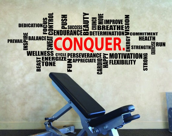 CONQUER. Wall Cloud Decal, Weight Room Ideas, Gym Fitness Wall Decal, Apartment Gym Studio Design