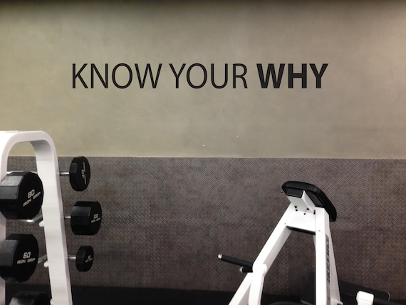 KNOW YOUR WHY Inspirational Wall Decal, Gym Design Ideas, Gym Wall Decal, Classroom Wall Decor, Office Wall Decor. Home Gym Design Ideas
