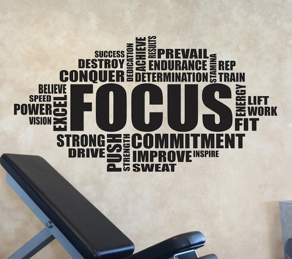 Gym Wall Art Decal, FOCUS Word Cloud Typography Design