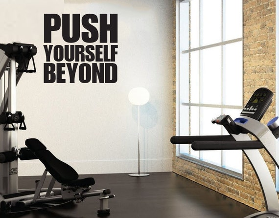 """Push Yourself Beyond, Wall Decor Vinyl Decal Gym Workout Motivation Quote 13""""x14"""", item#71"""
