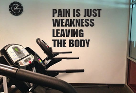 """Pain is Just Weakness Leaving the Body, Wall Decor Vinyl Decal Gym Workout Motivation Quote 20.5""""x24"""", item#81"""