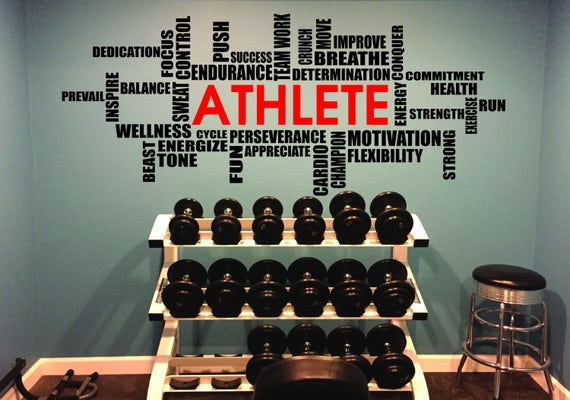 ATHLETE Wall Cloud Decal, Weight Room Decal, Motivational Wall Decal, ATHLETE Wall Decal, Locker Room Decor