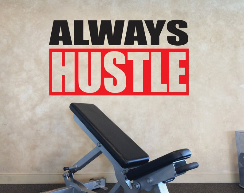 Gym decorating ideas locker room decor always hustle wall etsy