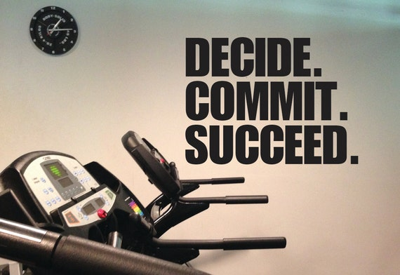 Fitness Motivation Wall Decal, Home Gym Decor, DECIDE. COMMIT, SUCCEED.