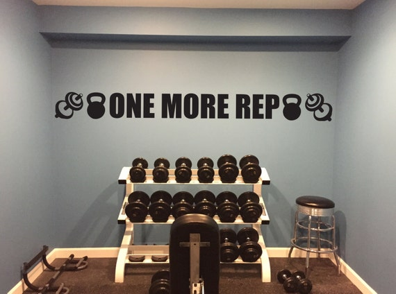 Basement Gym Ideas. ONE MORE REP Gym Wall Decal