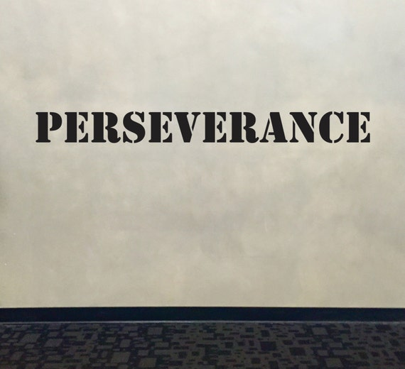 Motivational Wall Decal, Fitness Wall Decal, Classroom Wall decor, PERSEVERANCE Stencil Font Gym Wall Decal