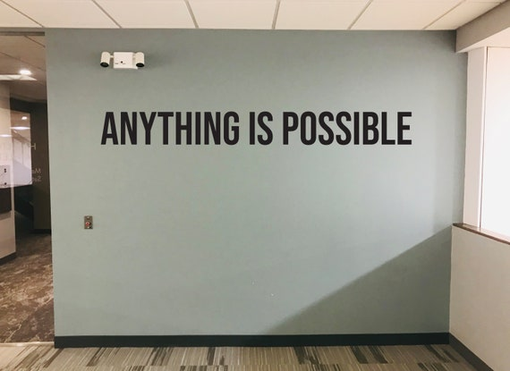 ANYTHING IS POSSIBLE Inspirational Wall Decal, Gym Design Ideas, Classroom Wall Decor, Office Wall Decor. Home Gym Design Ideas
