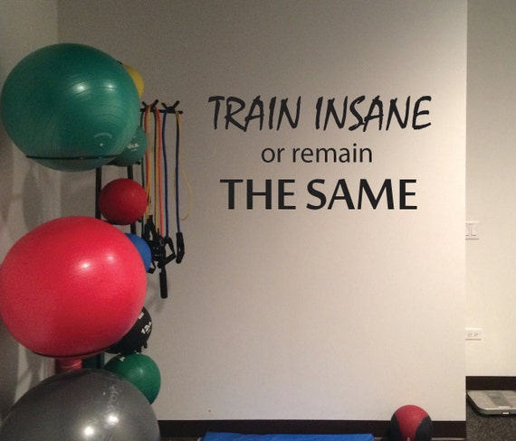 Fitness Studio Wall Decal. Gym Wall Decal. TRAIN INSANE or remain the SAME