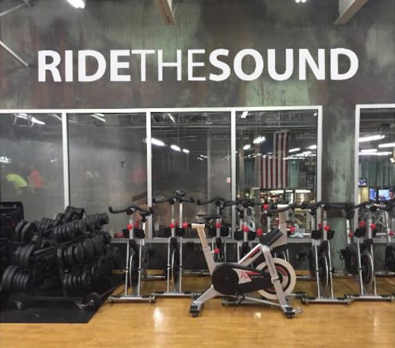 RIDETHESOUND Fitness Wall Decal, Gym Design Idea, Cycle Room Decor, Biking Decor, Ideas for Bike Room.
