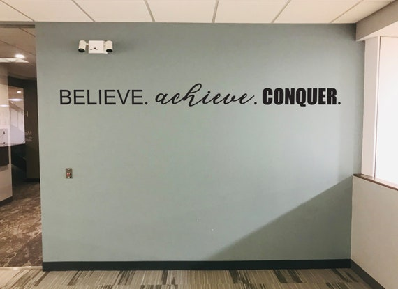 BELIEVE. achieve. CONQUER. Fitness Wall Decal, Gym Design Idea, Home Gym Ideas, Home Gym Decor, Hotel Gym Ideas, Gym Wall Decal
