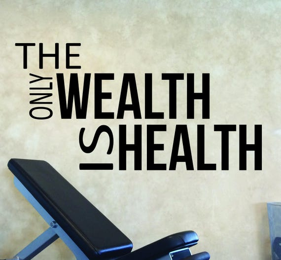 GYM DESIGN, Gym Wall Decor, Gym Ideas, Fitness Theme, The Only Wealth is Health