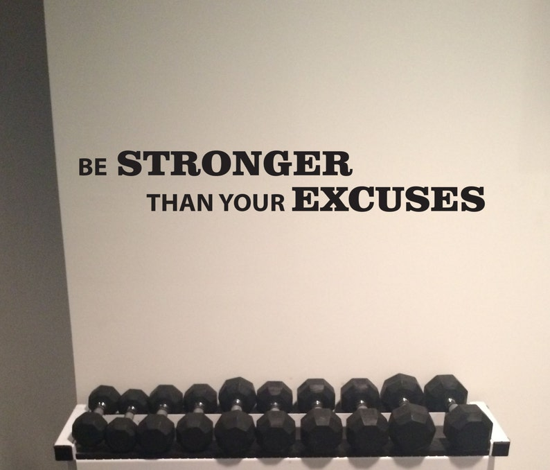 Work out essentials gym wall decal. be stronger than your etsy