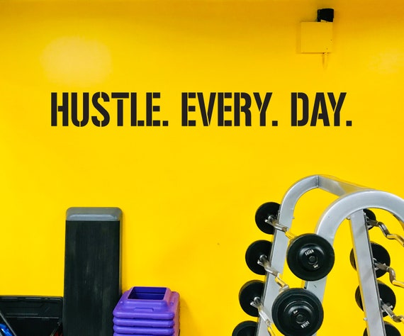HUSTLE. EVERY. DAY. Gym Wall Decal, Gym Quote Decor, Athlete Training Motivation, Athlete Gift, Home gym design ideas, Hustle Quote