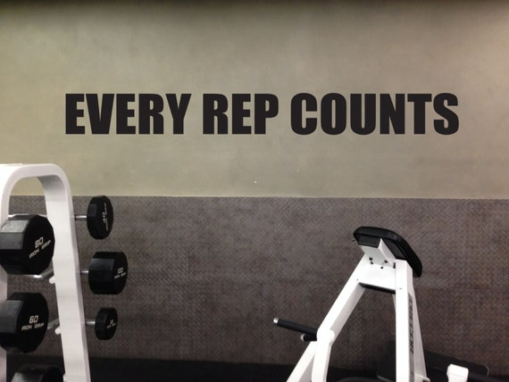 Motivational Gym Wall Decal, EVERY REP COUNTS 01
