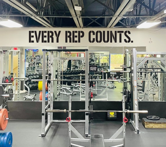 EVERY REP COUNTS. Gym Wall Decal, Gym Quote Decor, Athlete Training Motivation, Athlete Gift, Home gym design ideas, Ideas for motivation