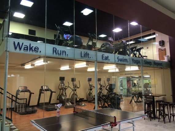 Gym Decorating Ideas, Work Out Vinyl Wall Decals. Wake. Run. Lift. Eat. Swim. Yoga. Sleep. Repeat. Gym Glass Decals