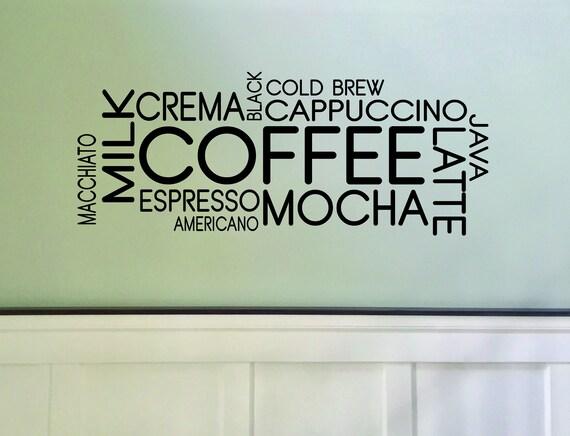Coffee Shop Decor, Coffee Wall Decal, Coffee Word Cloud Sticker, Cafe Decor