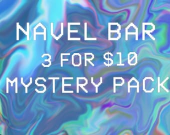 LUCKY DIP Mystery Pack of 3x Belly Bars/Navel Barbells/Rings Blind Bag ~ Random Body Jewellery Gift Surprise Sale Assortment