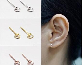 2303d2a84 925 Sterling Silver Earrings, Stud Hoop Earrings, Rose Earrings, Gold  Plated, Rose Gold Plated Earrings, Stud Earrings (Code : E03A)