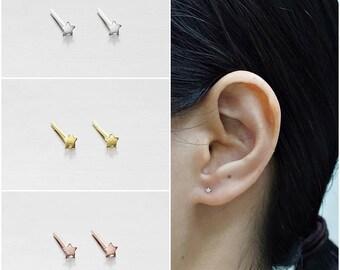 711cd9f36 925 Sterling Silver Earrings, Tiny Star Earrings, Gold Plated Earrings,  Rose Gold Plated Earrings, Stud Earrings, Size 2 mm (Code : E49B)