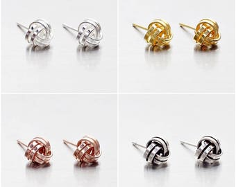 6a536a3d2 925 Sterling Silver Earrings, Knot Earrings, Stud Earrings, Gold Plated, Rose  Gold Plated, Oxidized Earrings, Size 6 mm (Code : E37C)