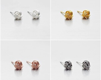 9013059cc 925 Sterling Silver Earrings, Knot Earrings, Gold Plated, Rose Gold Plated, Oxidized  Earrings, Stud Earrings, Size 5 mm (Code : E36B)