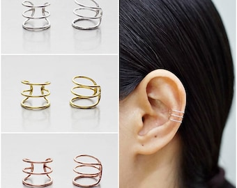 925 Sterling Silver Earrings, Ear Cuff Earring, Gold Plated Earrings, Rose Gold Plated Earrings (Code : E72A)