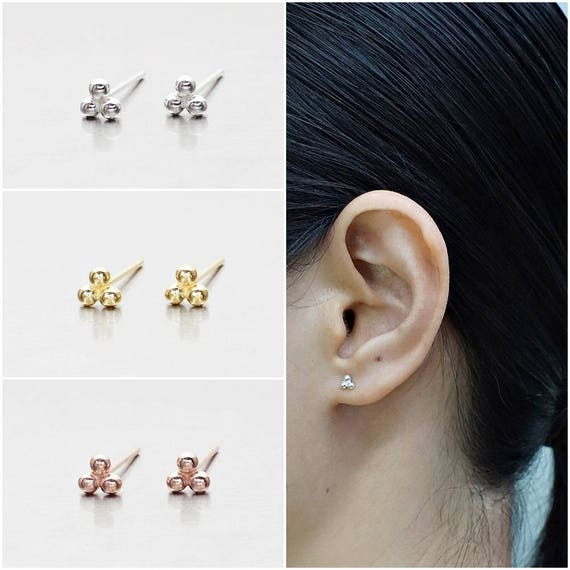 925 Sterling Silver Earrings Gold Plated Code : E36C Rose Gold Plated Stud Earrings Size 6 mm Knot Earrings