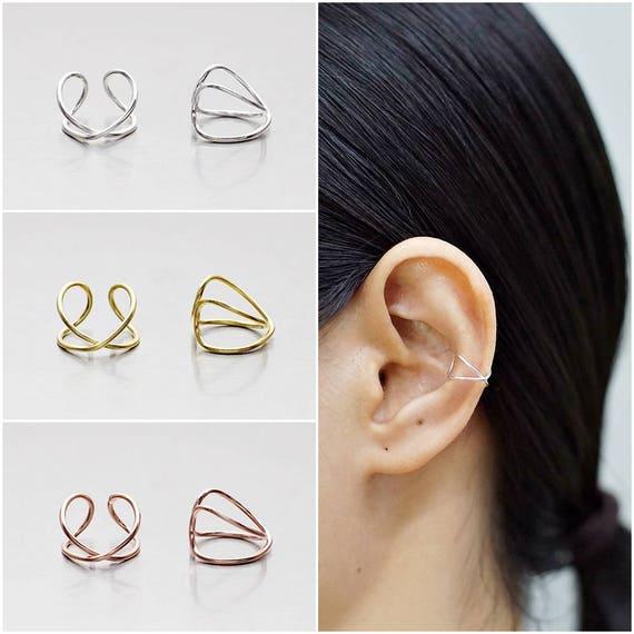 925 Sterling Silver Earrings, Ear Cuff Earring, Gold Plated Earrings, Rose  Gold Plated Earrings (Code : E72C)