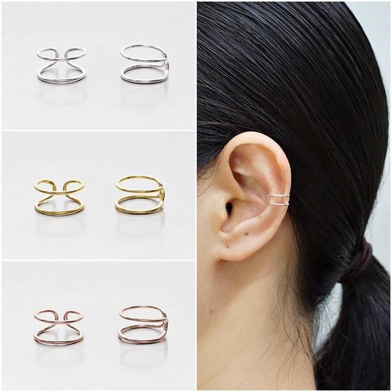 925 Sterling Silver Earrings Ear Cuff Earring Gold Plated image 0