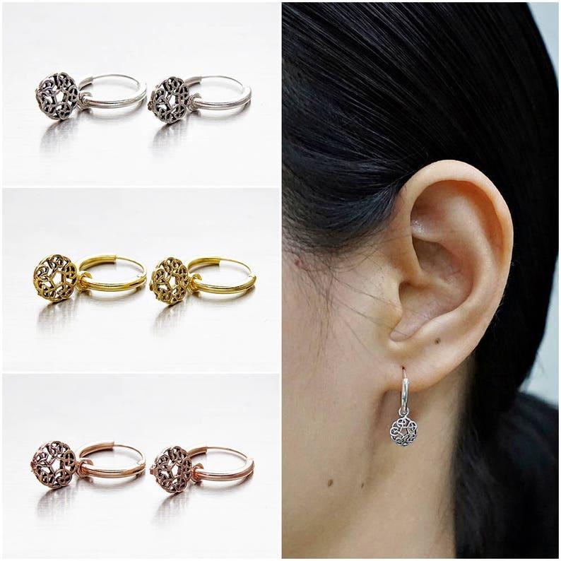 12mm Ridged Love Knot Earrings in Sterling Silver