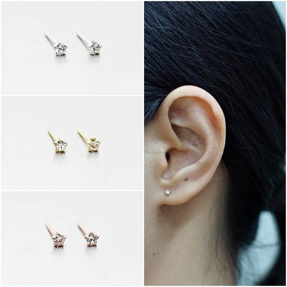 Brushed Solid 925 Sterling Silver Cute Little Geo Triangle Stud Earrings Gift
