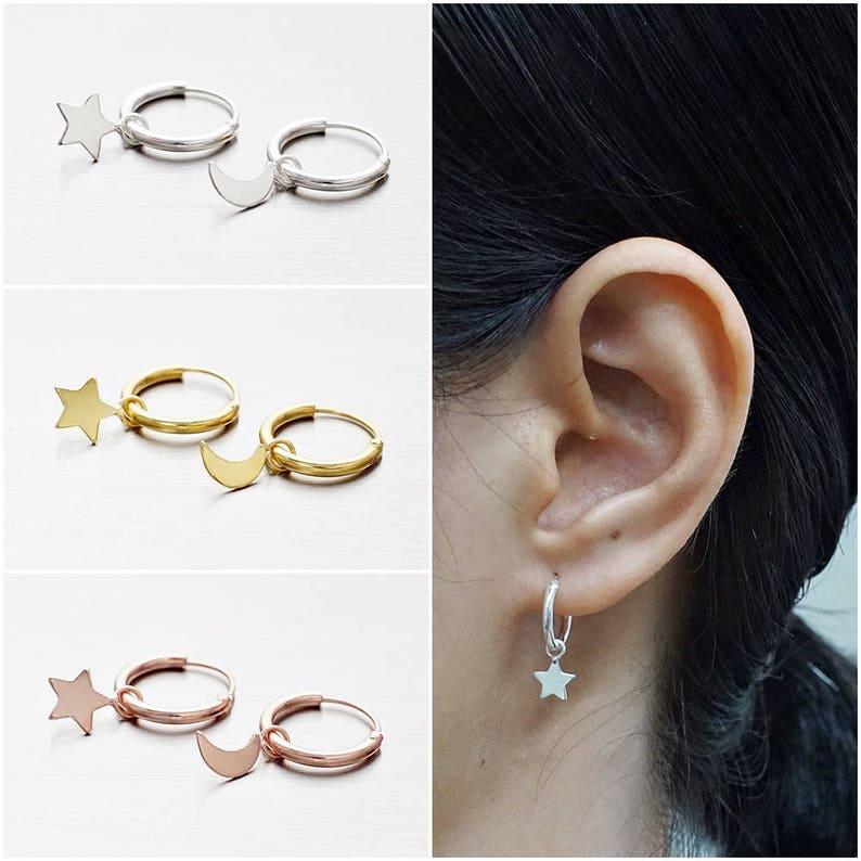 8714b5ea9dc3c 925 Sterling Silver Hoop Earrings, Star and Moon Earrings, Gold Plated  Earrings, Rose Gold Plated Earrings, Hoop Earrings (Code : CH12A)